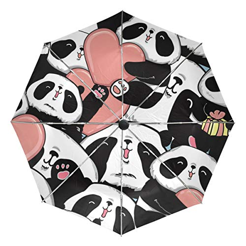 Panda Hug Heart Love Sun&Rain Automatic Umbrella Windproof Travel UV