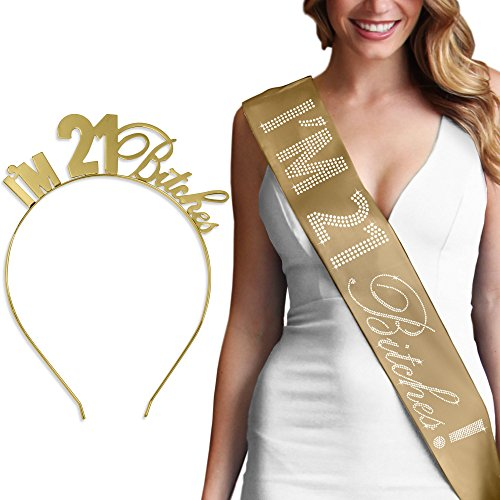 I'm 21 Bitches Rhinestone Gold Satin Sash & Gold Headband Tiara - 21st Birthday Gift Set Supplies – Gold by RhinestoneSash (Image #4)
