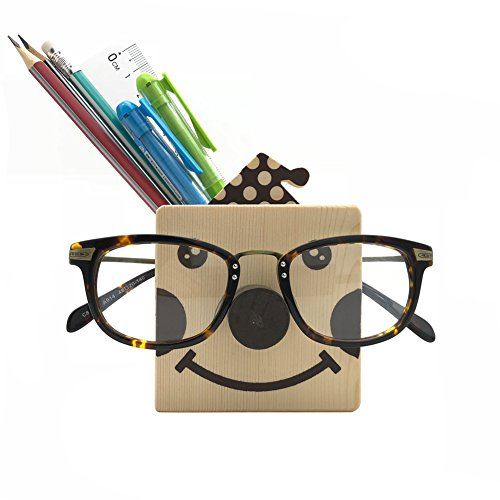 Z.N.Z Wooden Cute Animal Shaped Multi Purpose Use Holder Organizer for Novelty Eyeglass Holder Cell Phone Stand Pencil Stationery (Clown)