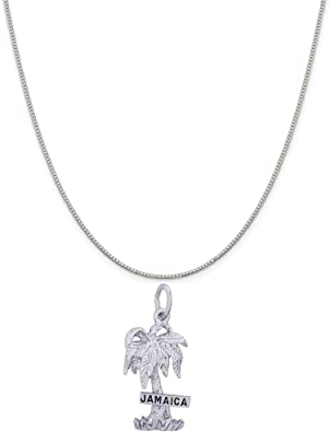 Rembrandt Sterling Silver Jamaica Charm on a Sterling Silver Rope Chain Necklace