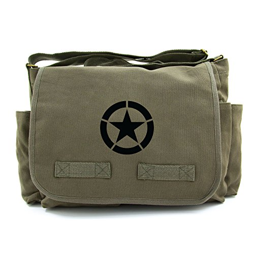 World War 2 Military Jeep Star Army Heavyweight Canvas Messenger Shoulder Bag in Olive & Black -