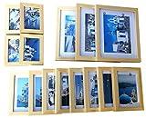 EFK-II Supply Crafted Wood Photo Frame Set Modern Art Home Decor Elegant Wood Frame Set (Plain Wooden Photo Picture Frame Wall College Set -15 pcs)