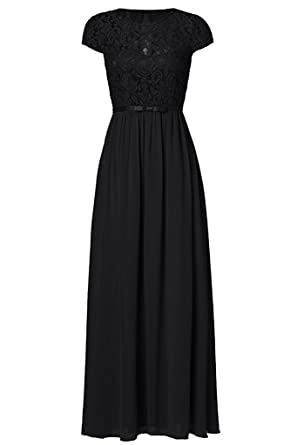 Victoria Prom Womens Vintage Floral Lace Cap Sleeve Long Chiffon Bridesmaid Evening Dress Black us2