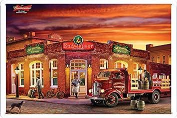 Amazon.com: Budweiser Beer Tin Cartel por los alimentos ...