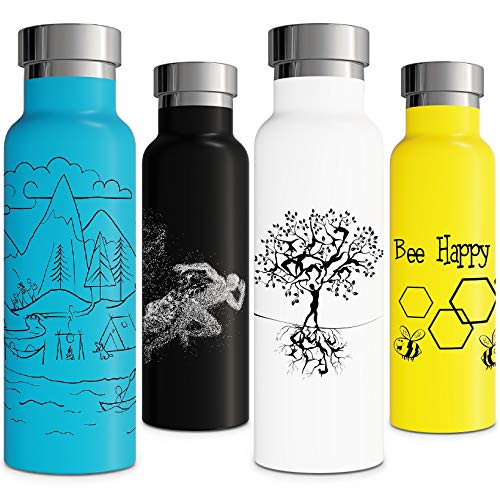 Bee Gift Vacuum Insulated Water Bottle Double Walled Stainless Steel Eco Friendly Sweat Free Leak Proof Durable Powder Coated 20oz Thermos Yellow Gym Hiking Camping Travel Office School Sports (Holder Bee Good Work)