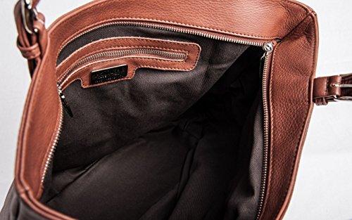 Giglio - Passione Bags - Borsa da donna in vera pelle a spalla color bruciato con fiori ricamati a mano - Made in Italy