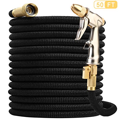 Nerghos Garden Hose Expandable Water Hose 50FT & Multifunctional Spray Hose Nozzle,Flexible Lightweight Hose-Extra Strength No-Kink Leakproof with 3/4″ Solid Brass Fittings,Triple Latex Core (Black)