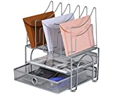 8 tier file tray - EasyPAG 2 Tier Mesh Desk Tray Organizer with Drawer and 5 Upright File Sorter,Silver (New Version)