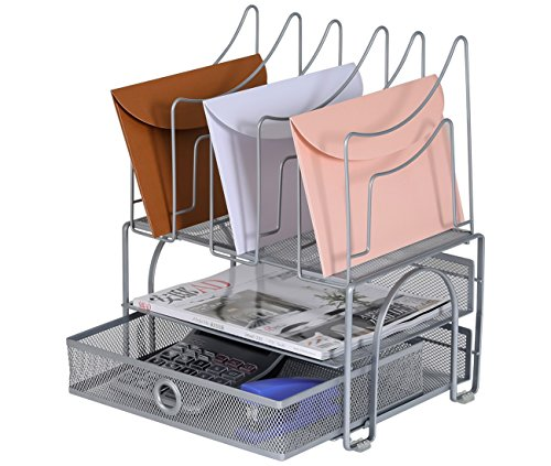 EasyPAG 2 Tier Mesh Desk Tray Organizer with Drawer and 5 Upright File Sorter,Silver (New Version) - Metal Desk Drawer Stationery Holders