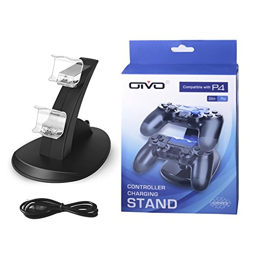 Price comparison product image PS4 Controller Charger, Dual USB Charging Docking Station Stand with LED Lights for Playstation 4 PS4 / PS4 Pro / PS4 Slim Controller