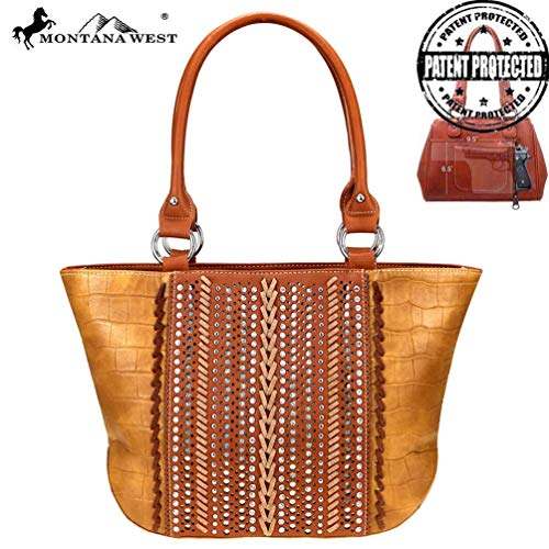 Montana West Concealed Carry Tote Purse Safari Collection Croc Print MW729G-8317 Brown