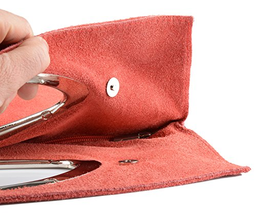 Rote Lederhandtasche stylische Handtasche rot Damen : Nubukledertasche -- echt Leder / Rauleder Tasche Farbe: rot