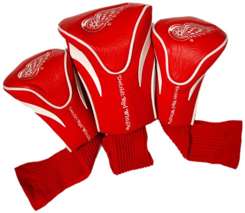 Team Golf NHL Detroit Red Wings Contour Golf Club Headcovers (3 Count), Numbered 1, 3, & X, Fits Oversized Drivers, Utility, Rescue & Fairway Clubs, Velour lined for Extra Club Protection