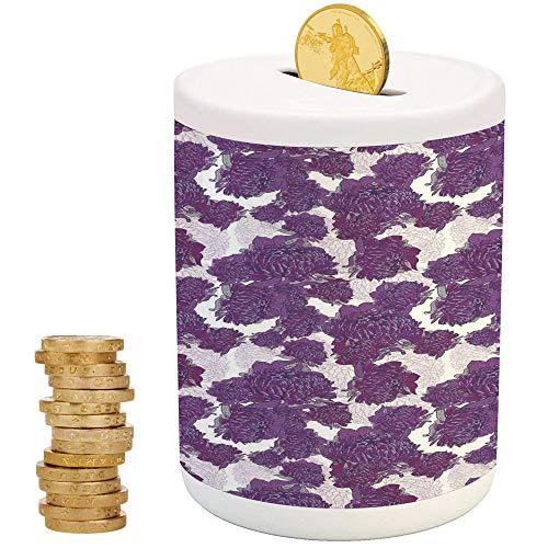 - Mauve Decor,Ceramic Coin Bank,Top Slot Porcelain Nursery Décor Baby Bank,Unusual Vivid Allium Flower Petals Design Hippie Wild Victorian Peony Artwork
