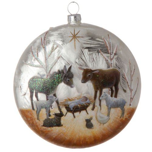 RAZ Imports Nativity Manger Scene with Baby Jesus and Animals Glass Ball Christmas Tree Ornament, 5 Inches
