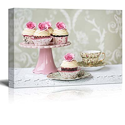 Afternoon Tea With Rose Cupcakes - Canvas Art