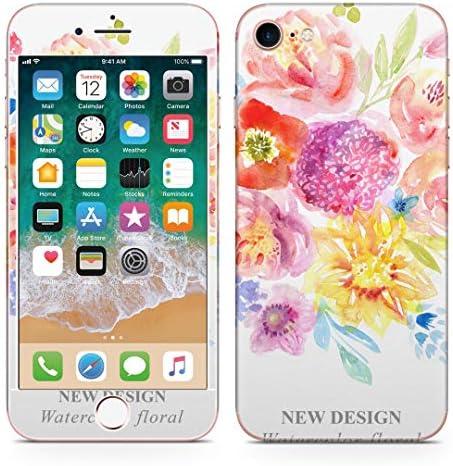 igsticker iPhone SE 2020 iPhone8 iPhone7 専用 スキンシール 全面スキンシール フル 背面 側面 正面 液晶 ステッカー 保護シール 009821 フラワー 花 水彩