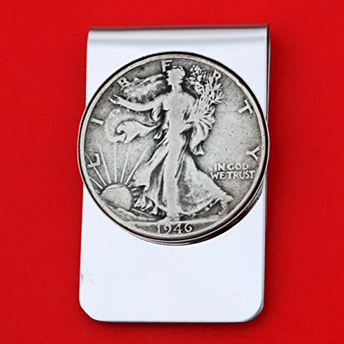 US 1946 Walking Liberty Half Dollar 90% Silver Coin Stainless Steel Money Clip NEW - Silver Plated Coin Bezel by jt6740