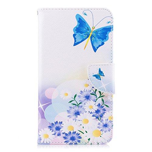Conception Peint Pu Flip Portefeuille support Blue Honor Fente D'impression En Cas Magnétique Avec De Play Fermeture 7x Pour Protection Cuir Aérosol Carte Hozor Butterfly Huawei Étui qOXCSz