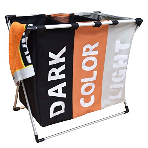 - HOMINKER Laundry Hamper Sorter Basket 3 Section Foldable with Aluminum Frame 24.4