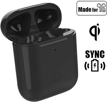 Reemplazo actualizado de la Caja de Carga inalámbrica Qi Compatible con AirPods 1 2, con botón de sincronización Bluetooth, Cubierta Protectora del Cargador AirPod (Black): Amazon.es: Electrónica