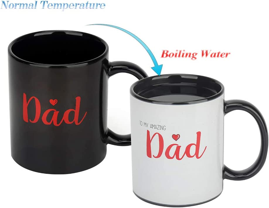 Fathers Coffee Mug Heat Changing Milk Cup, TO MY AMAZING DAD - Funny Heat Sensitive Mug 12OZ Coffee Cup, Add Coffee or Tea and a Funny Happy Scene Appears for Father's Day, Birthday