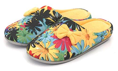 Blubi Womens Floral Coton Confort Chambre Pantoufles Chaussons Maison Jaune