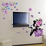 Alrens_DIY(TM) Colorful Flowers Rose Beauty Girl DIY Eco-friendly Wall Stickers Home Decoration Living Room Kids Nursery Room Bedroom Decor Décor adesivo de parede Self Adhesive Creative Art Mural Decorative Decal