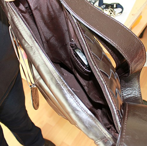 Borsa a tracolla donna Sonder offerta 661 marrone scuro sacchetto in pelle Greenburry gepflochten