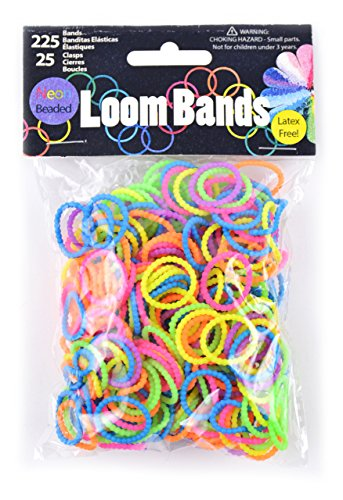 Midwest Design Imports Loom Bands Neon Beaded Assortment, 225 Bands and 25 Clasps from Midwest Design Imports, Inc.