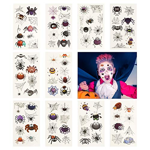 CINMOK 80 Pcs Halloween Temporary Kids Tattoos Cartoon Spider Tattoo Non-Toxic Stickers Spider Transfer Tattoo for Birthday Theme Party Bag Filler Favors Cosplay Makeup Face Decals Party 10 Pack (B-Halloween Spider Tattoo)
