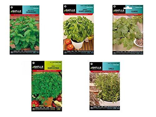 Semillas aromáticas lote 5 sobres (Hierbabuena, Albahaca, Cilantro, Perejil y Tomillo) Batlle
