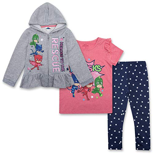 PJ Masks Toddler Girls Set - Catboy, Gekko & Owlette - Owlette Hoodie, T-Shirt & Sweatpants Set (Grey/Pink/Blue, 3T)
