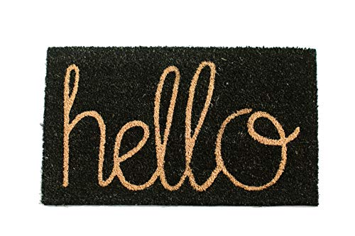 Coir Door Mat | Vinyl Backed | Indoor/Outdoor | Specialty Designs | Hello