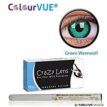 6a1d9f089 Buy ColourVUE 14MM Crazy Lens Green Werewolf Color Zeropower Quarterly (3  Months) Contact Lens with Free Eye/Lip Liner (2 Lens Pack) By Visions India  Online ...