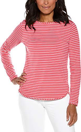Coolibar UPF 50+ Women's Heyday Side Split Shirt - Sun Protective (XX-Large- Sunset Coral/White Stripe)