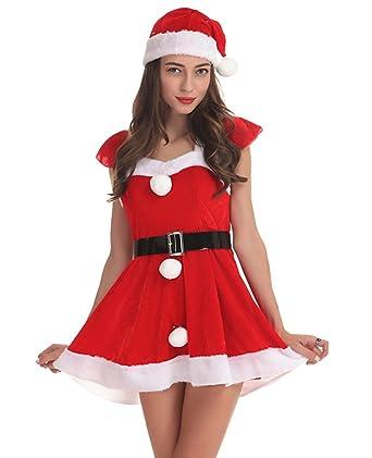 Anguang Mujer Navidad Santa Claus Disfraz Traje Cosplay ...