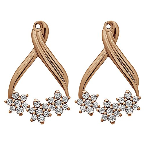 3/8 ct. Charles Colvard Created Moissanite Moissanite Flower Earring Jackets in Rose Gold Plated Sterling Silver (0.44 ct. twt.) by TwoBirch