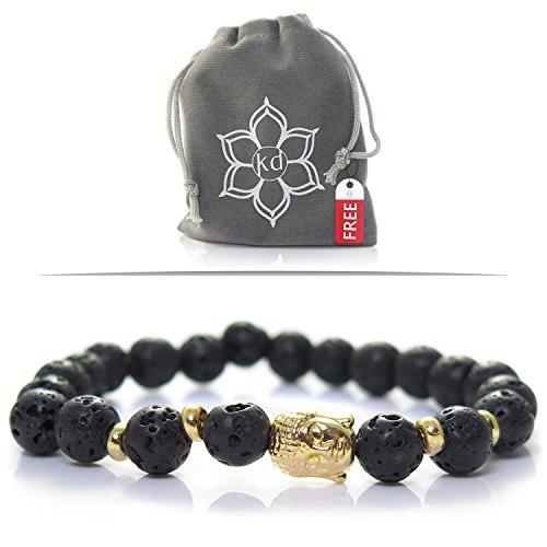 UPC 791321500231, Kanti Design Lava Stone Buddha Bracelet with Goldtone Accents