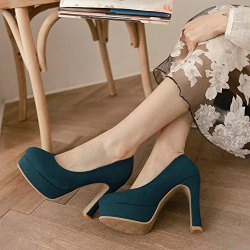 Carolbar Womens Rétro Mode Partie Plate-forme Talons Hauts Pompes Chaussures Bleu