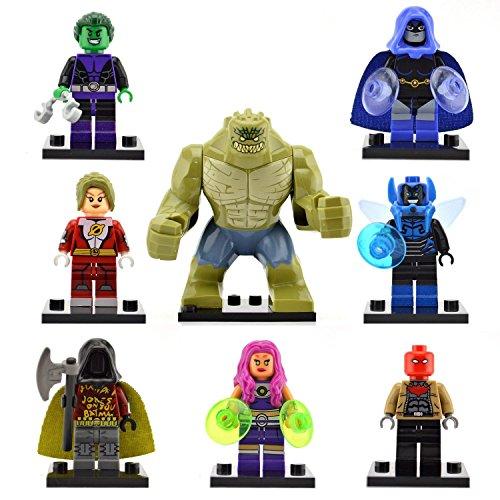 TONGROU 8pcs/set-Starfire-Blue-Beetle-Killer-Croc-Raven-Minifigures-toys