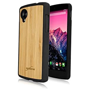 BoxWave True Bamboo Minimus Google Nexus 5 Case, Genuine Bamboo Wood Backing Shell Case Cover with Durable Plastic Edges with Smooth Matte Finish (Jet Black)