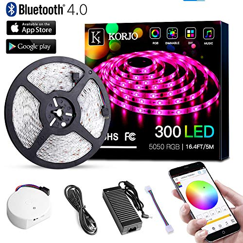 KORJO Solarphy 5050 LED Strip Light 16.4ft (5m) 300 LEDs Waterproof Color Changing LED Strip RGB Rope Light Kit with Bluetooth Smartphone APP Controller & 24V 5A Power Supply for ()