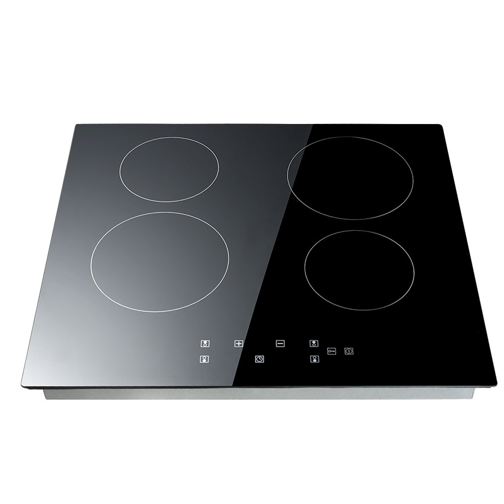 WEIBO 60cm Ceramic Hob 4 Zone Black Glass Built-in Electric Hob Induction Hobs with Touch Controls