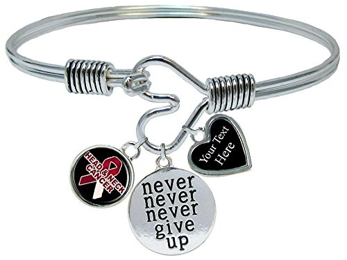 Holly Road Head and Neck Cancer Awareness Never Give Up Bracelet Jewelry Choose Your Text ()