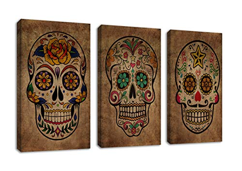 Vintage Sugar Skull Wall Art Abstract Canvas Picture Day of The Dead Modern Artwork Contemporary Art Design Framed Mexican Art Prints for Living Room Bedroom Office Home Wall Decor 16
