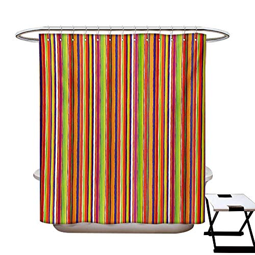 (Stripes Shower Curtains Fabric Extra Long Hand Drawn Barcode Style Lines Rainbow Colored Abstract Geometric Illustration Bathroom Set with Hooks W72 x L96 Multicolor)