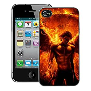 Planetar® ( Devil Man Abs Fire Power Flame ) iPhone 4 / 4S Fundas Cover Cubre Hard Case Cover
