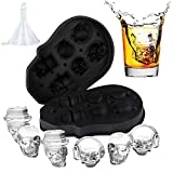 3D Skull Ice Mold, Easy To Fill and Easy Release Melt Slower Silicone Skull Ice Mold, Makes Six Vivid Skulls,Cool and Funny Ice Skull,With Funnel
