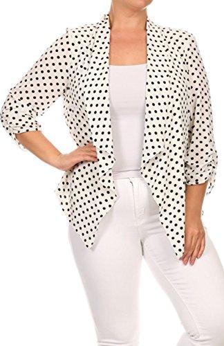 2LUV Plus Women's Open Front Gathered Sleeve Plus Size Blazer – X-Large, White1
